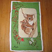 Vintage 1960s Koala Bear Hand Towel Hand Painted Pure Linen