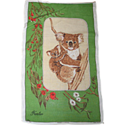SALE Vintage 1960s Koala Bear Hand Towel Hand Painted Pure Linen
