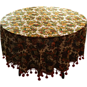 Vintage 1960s Autumn Floral Print Round Fabric Tablecloth with Dangle Ball Trim