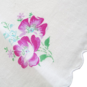 Vintage 1950s Round White Handkerchief with Pretty Purple Flower Print
