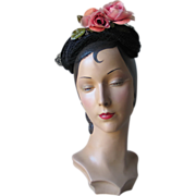 SALE Vintage 1950s Shimmery Black Hat with Pink Flower and Tie Back Veil