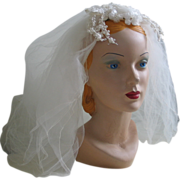 Vintage 1960s Gossamer Bridal White Wedding Veil