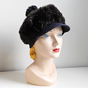 Vintage 1960s Cozy Faux Fur Winter Hat with GoGo Girl Brim