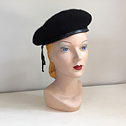 Vintage Black Wool Beret Normandy Ultrabasque made in Czechoslavackia