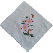 Vintage 1950s 1960s Embroidered Dogwood Flower Handkerchief Hanky