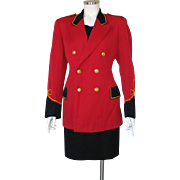 Vintage Red and Black 2 Tone Contrast Band Circus Uniform Jacket With Gold Trim M