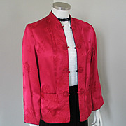 Vintage 1940s Reversible Red and Black Quilted Satin Oriental Min Jacket
