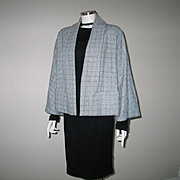 SOLD Vintage 1950s Light Blue with Navy Blue Flecks Plaid Swing Jacket with Bell Sleeves L XL
