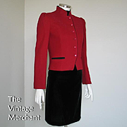 Vintage 1970s Dark Red Cropped Jacket Black Piping Couched Embroidered Trim S M