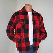 Vintage 1970s Red Black Lumberjack Buffalo Plaid Winter Jacket Caribou by Briarcliff