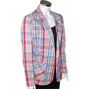 Vintage 1970s Red White and Blue Plaid Seersucker Summer Ladies Jacket
