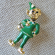 Vintage 1960s Novelty Leprechaun Nodder Pin