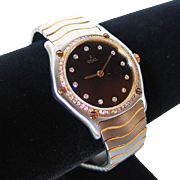 SALE Ebel Classic Wave Ladies Watch Black Guilloche Diamond Dial & Bezel XS