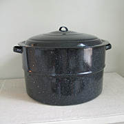 Vintage Graniteware Canning Boiler Pot with Lid