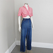 Vintage 1950s Side Zipper Blue Jeans Denim Dungarees Ranchwear Sanforized Scovill