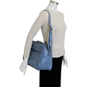 Vintage 1970s Light Blue Carry On Shoulder Bag Tote Luggage