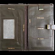 SALE Vintage 1960s Passport Wallet Ocher Fatigue Olive Green Leather