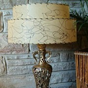 SALE Vintage 1960s Exotic Oriental Brass Table Lamp
