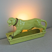 Vintage 1950s 1953 Lane Chartreuse Green Leopard TV Lamp and Planter
