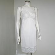 Vintage 1960s Komar White Nylon Full Slip with Floral Lace