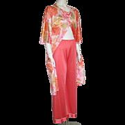 Vintage 1960s Vassarette Tangerine Trousers Lounge Pajama Pants S M