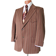 Vintage 1960s Brown Tan Dark Red Russet Chevron Striped Knit Sportcoat with Back Belt Waistban