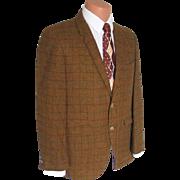 Vintage Swinging 1960s Hyde Park Gold Plaid Menswear Sportcoat Sport Coat Jacket L XL