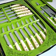 Vintage 1960s Cutlery Knife 19 Piece Set In Original Box
