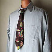 SALE Vintage De Bolt's Ritter Fashion Necktie Espresso Brown, Chartreuse, Teal, Orchid Print
