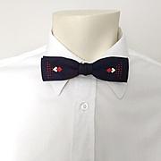 Vintage 1950s Skinny Navy Blue Red and White Jacquard Harlequin Diamond Bow Tie Bowtie