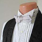 Vintage 1980s Silver Gray Satin Menswear Formal Bow Tie Bowtie