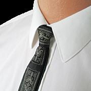 Vintage 1960s Skinny Black Dark Gray Necktie Neck Tie with Art Deco Look Embroidery