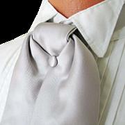 Vintage 1980s Silver Gray Satin Formal Wear Tuxedo Cravat Ascot Neck Tie Necktie