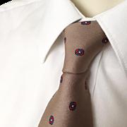 Vintage 1970s Italian Silk Designer Necktie Neck Tie Pauline Trigère Foulard Taupe Light Brow
