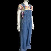 Vintage 1980s Paul Harris Blue Denim Overalls L