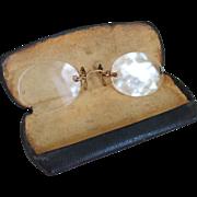 Authentic Vintage Hard Bridge Pince Nez Eyewear with Original Case