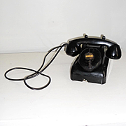 Vintage Black Early Plastic Leich Crank Table Desk Telephone