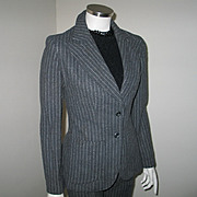 Vintage 1970s Gray and White Pinstripe Pants Suit Trouser Suit XS S