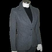 Vintage 1970s Gray and White Pinstripe Pants Suit Trouser Suit XS S