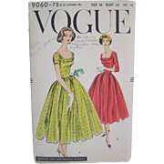 Vintage 1957 Vogue Sewing Pattern #9060 Square Neck Dress  Size 16