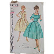 SOLD Vintage 1958 Simplicity Dress Pattern Fit and Flare with Bows