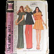 SALE Vintage 1973 McCall's Carefree Pattern Mini Dress Top Pants #3877