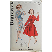 Vintage 1960s Uncut  Sewing Pattern 9010 Rockabilly Shirtwaist Dress with Full or Straight ...