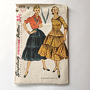 Vintage 1952 Simplicity 3978 Sewing Pattern for Patio Dress Outfit Tiered Broomstick Prairie S