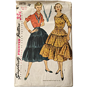 Vintage 1952 Simplicity 3978 Sewing Pattern for Patio Dress Outfit Tiered Broomstick Prairie .