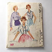 Vintage 1960 McCalls Sewing Pattern # 5572 Rockabilly Blouse Sleeveless Shortsleeve Longsleeve
