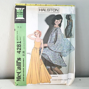 Vintage 1974 McCalls Halston Gown and Butterfly Cape Dress Pattern 4281