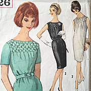 Vintage 1960s Smocked Sheath Dress Pattern by Simplicity 4826 Size 16 Bust 36
