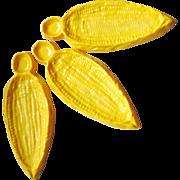 Vintage 1960s Bright Yellow Corn On The Cob Shaped Sweet Corn Plates