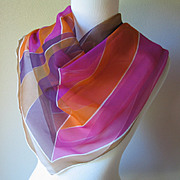 Vintage 1970s Bold Geometric Verasheer Vera Scarf Hand Rolled Vivid Autumn Colors